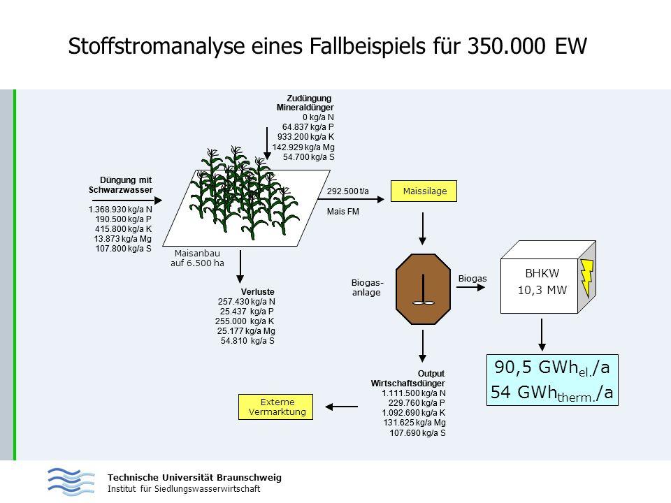 Stoffstromanalyse eines Fallbeispiels für 350.000 EW
