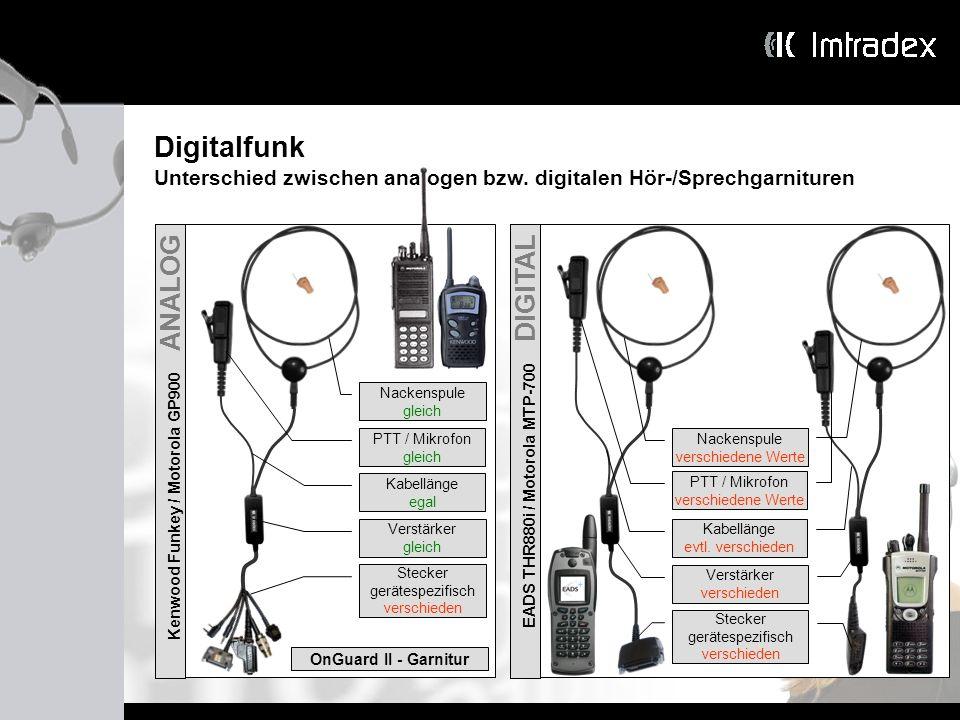 DigitalfunkUnterschied zwischen analogen bzw. digitalen Hör-/Sprechgarnituren. Kenwood Funkey / Motorola GP900 ANALOG.