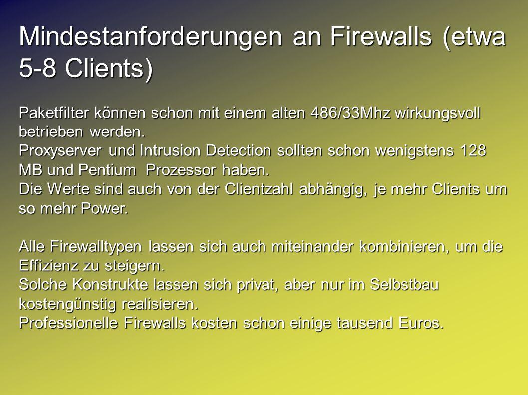 Mindestanforderungen an Firewalls (etwa 5-8 Clients)