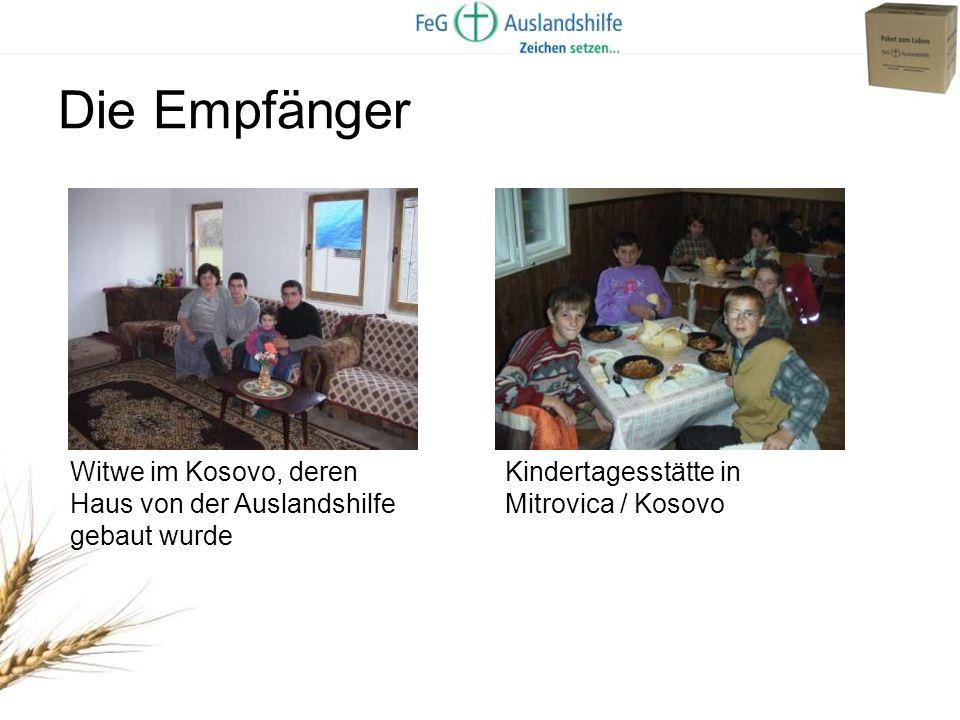 Die Empfänger Witwe im Kosovo, deren Haus von der Auslandshilfe gebaut wurde.