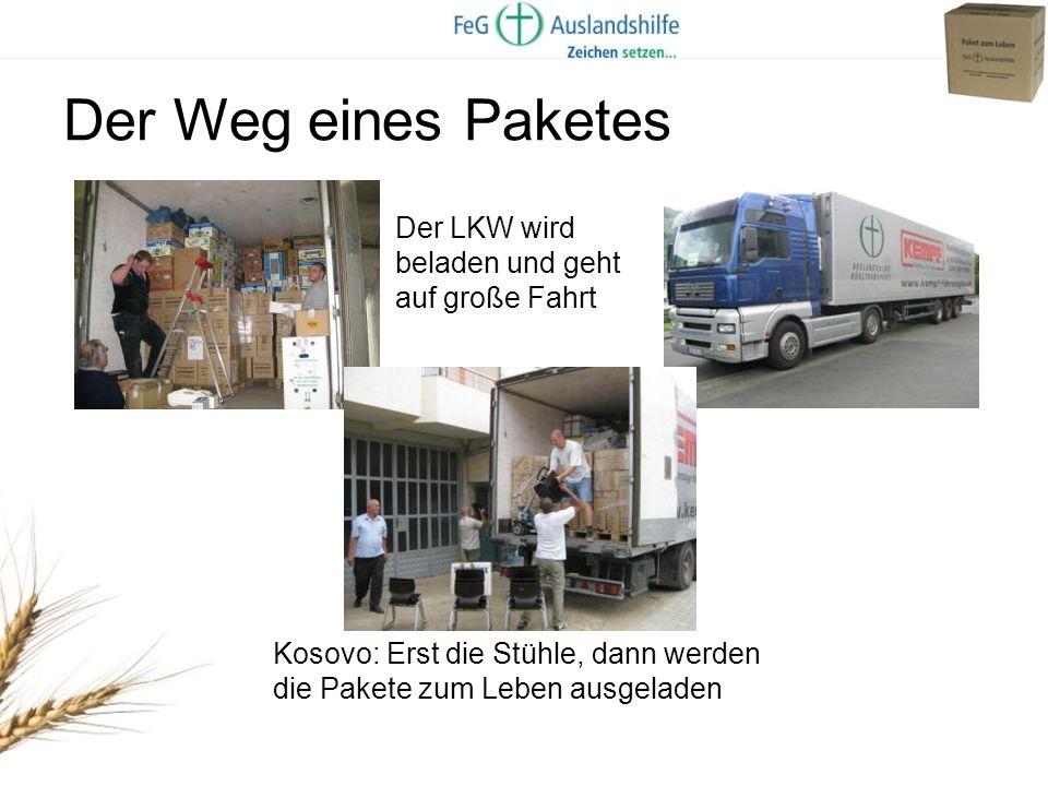 Der Weg eines Paketes Der LKW wird beladen und geht auf große Fahrt