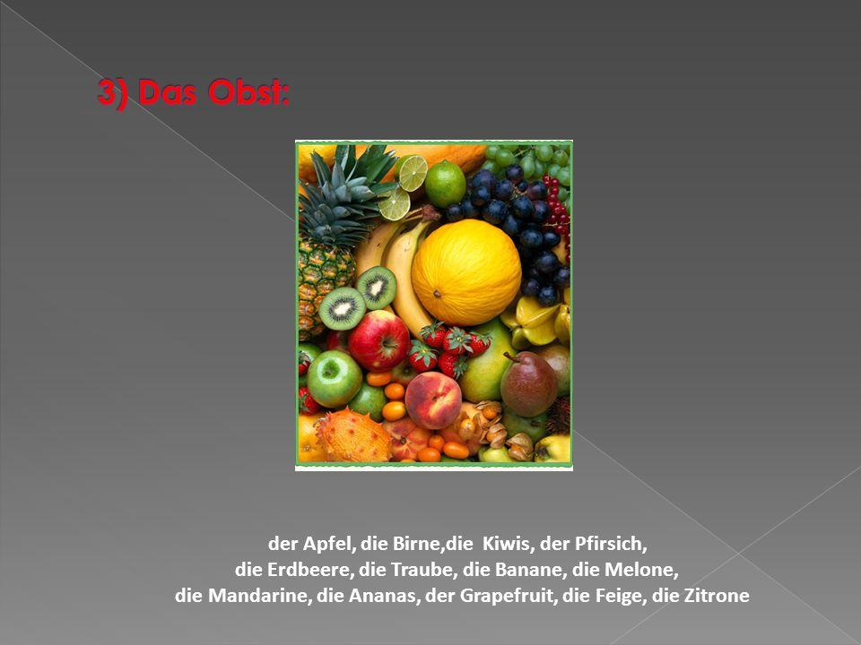 3) Das Obst: der Apfel, die Birne,die Kiwis, der Pfirsich,