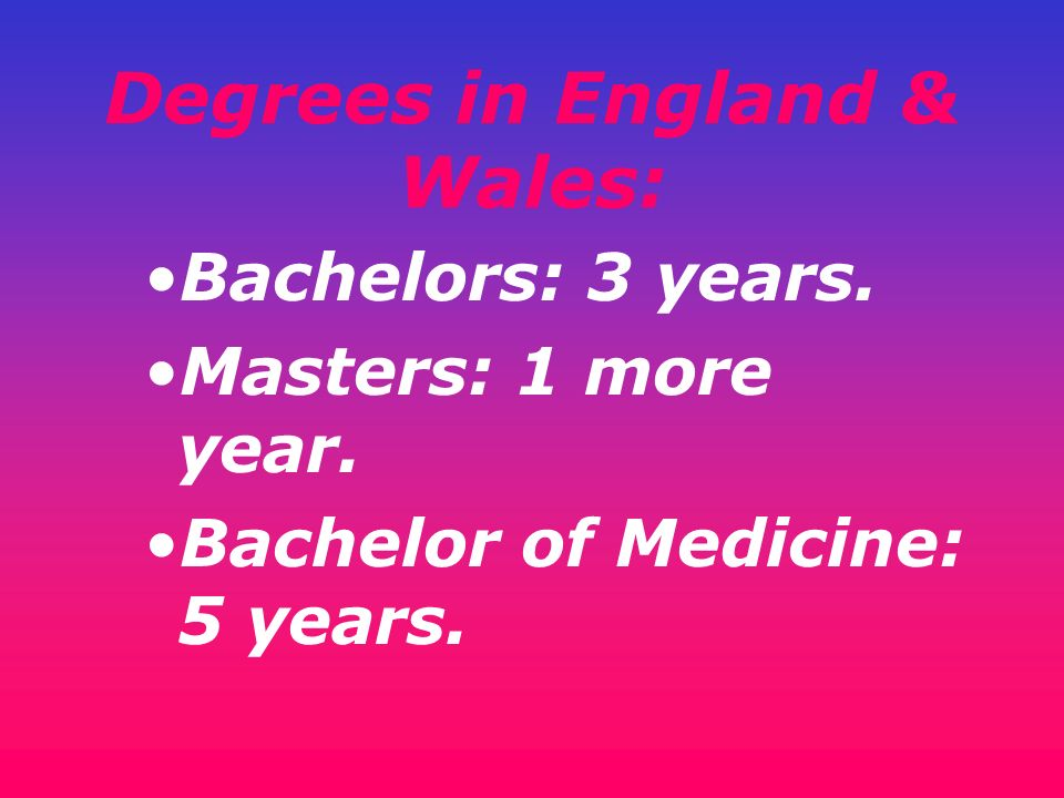 Degrees in England & Wales: