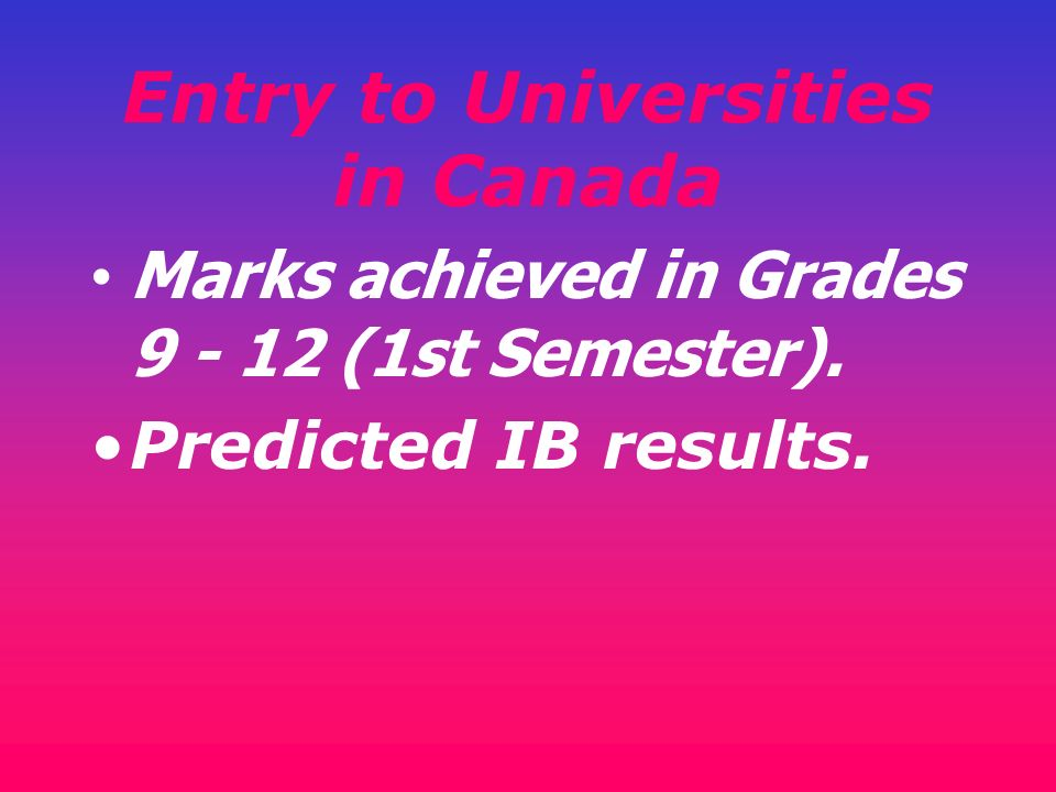 Entry to Universities in Canada