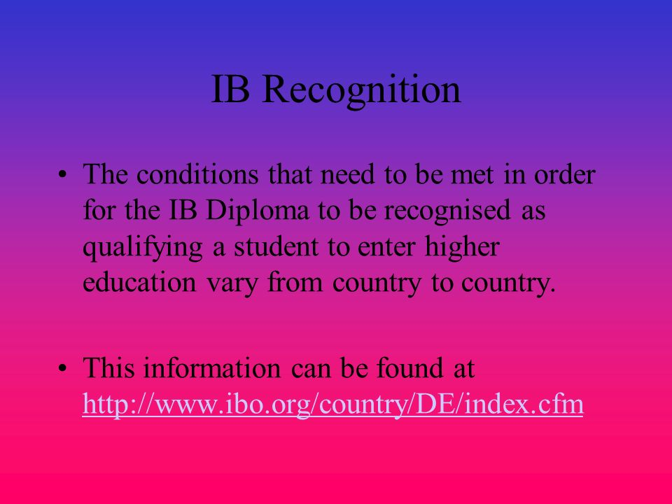 IB Recognition