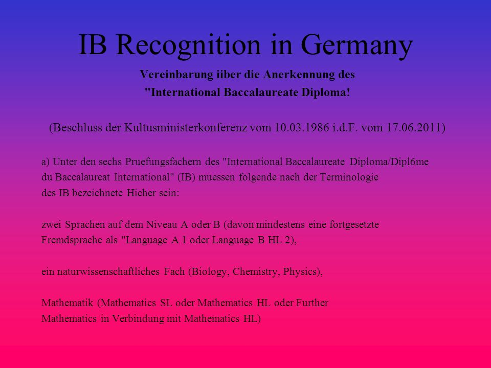 IB Recognition in Germany