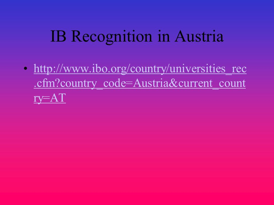 IB Recognition in Austria