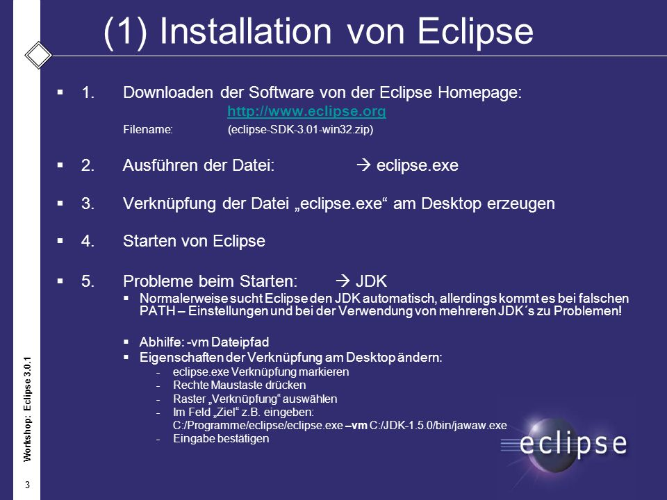 (1) Installation von Eclipse