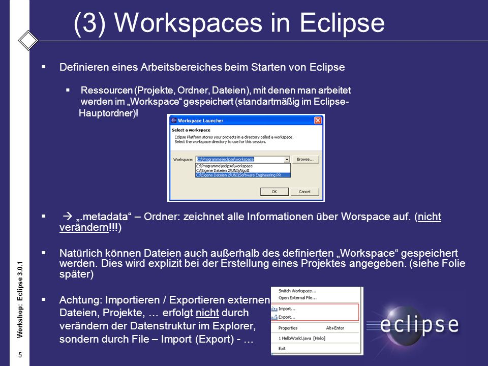 (3) Workspaces in Eclipse