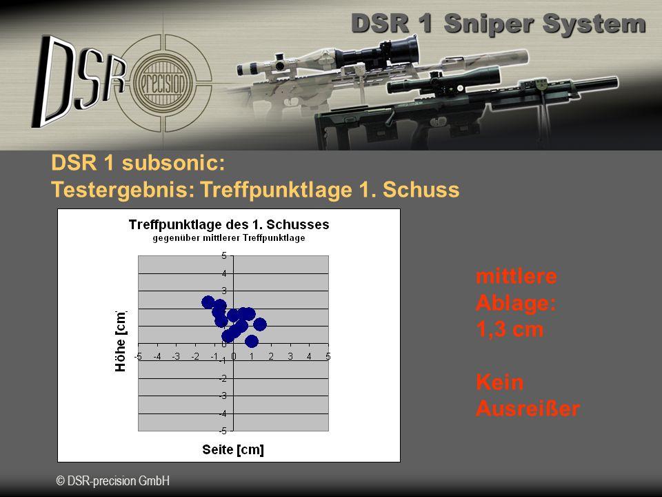DSR 1 subsonic: Testergebnis: Treffpunktlage 1. Schuss