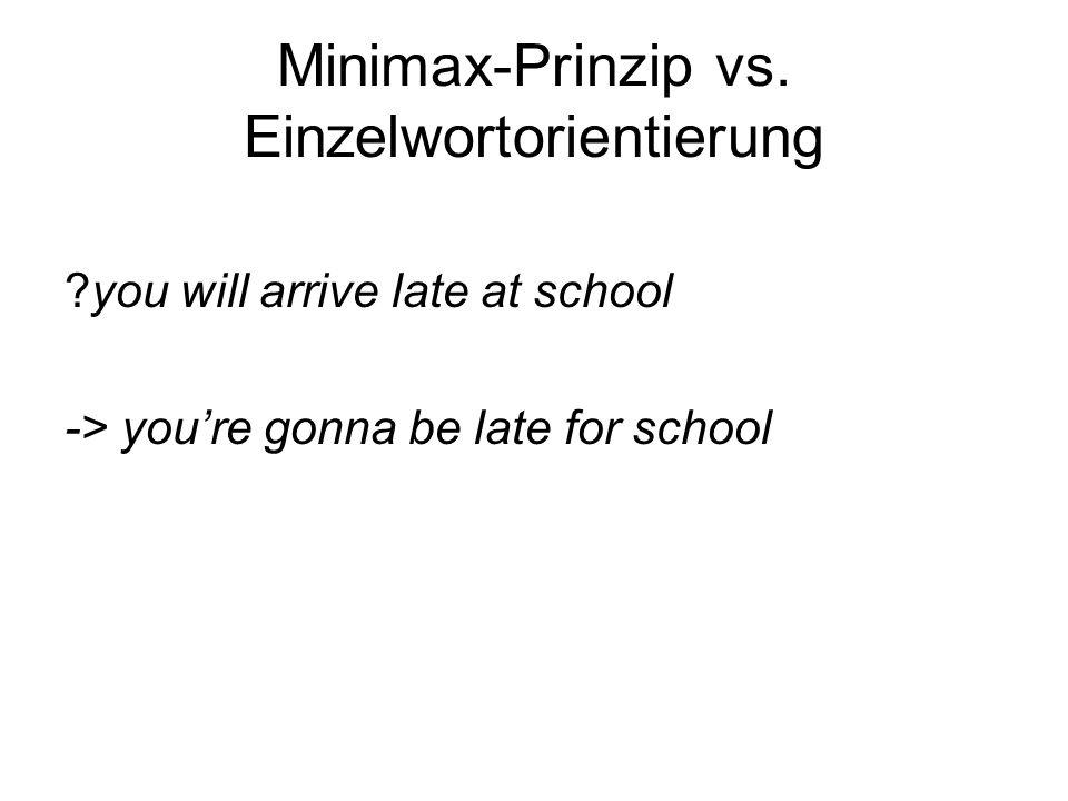 Minimax-Prinzip vs. Einzelwortorientierung