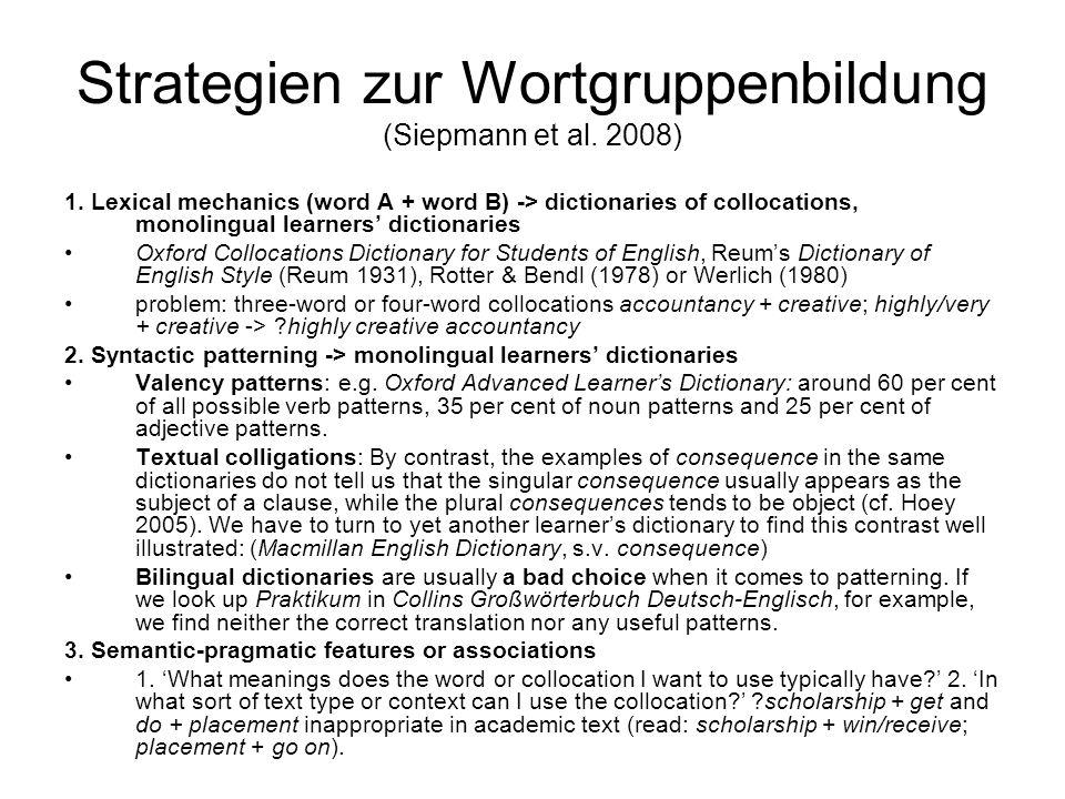 Strategien zur Wortgruppenbildung (Siepmann et al. 2008)