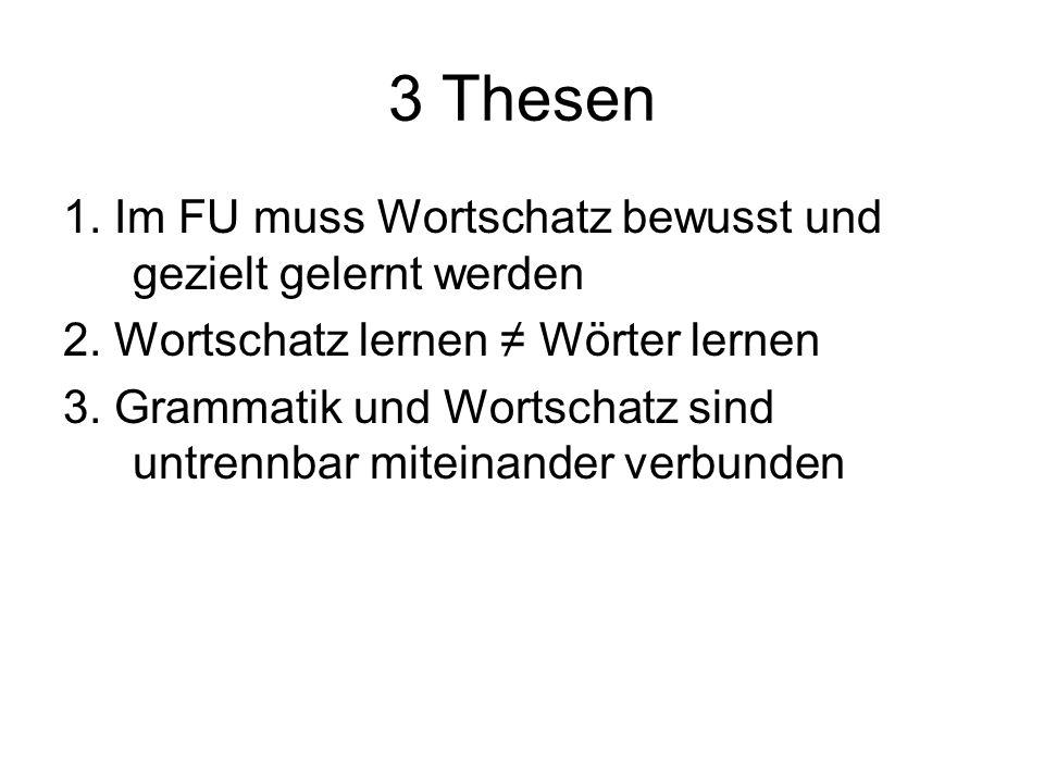 3 Thesen 1. Im FU muss Wortschatz bewusst und gezielt gelernt werden