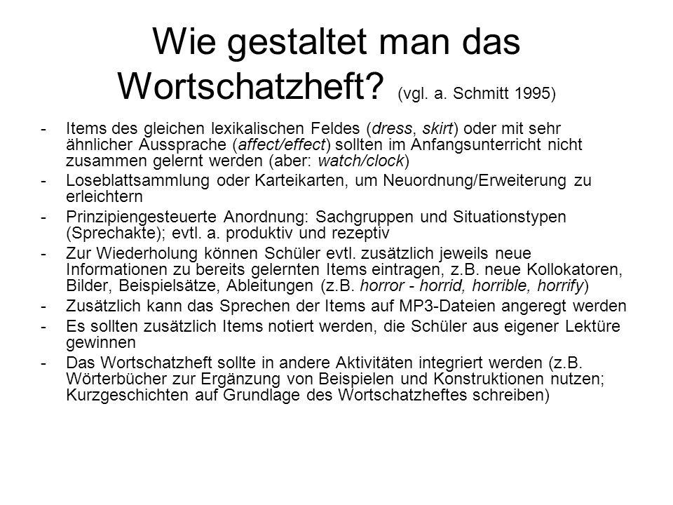 Wie gestaltet man das Wortschatzheft (vgl. a. Schmitt 1995)