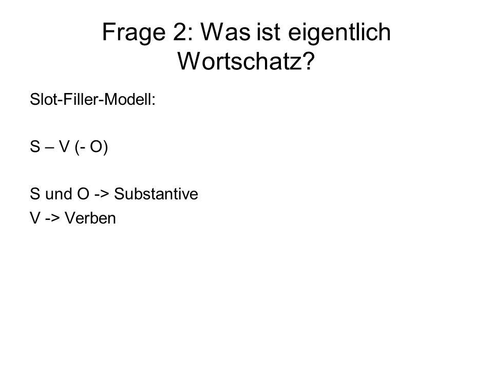 Frage 2: Was ist eigentlich Wortschatz