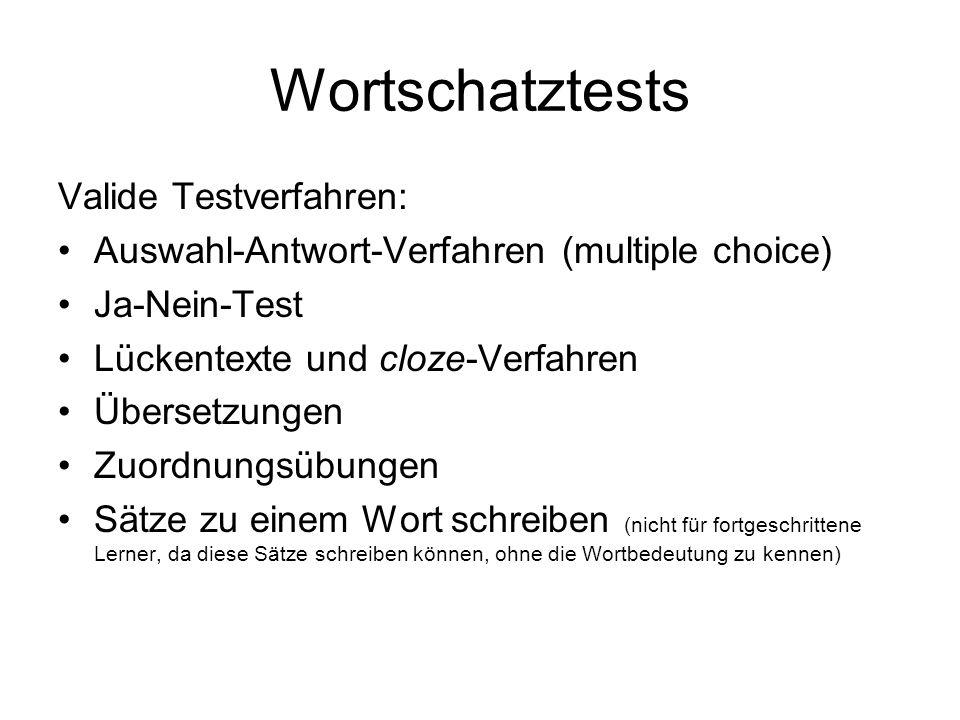 Wortschatztests Valide Testverfahren: