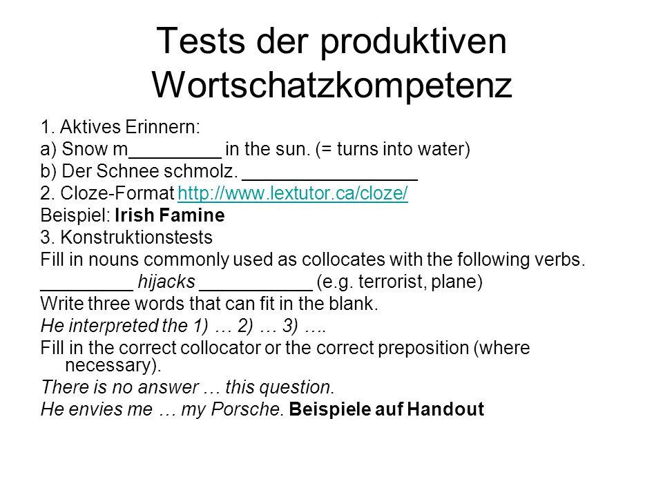 Tests der produktiven Wortschatzkompetenz