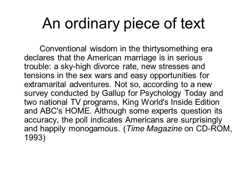 An ordinary piece of text