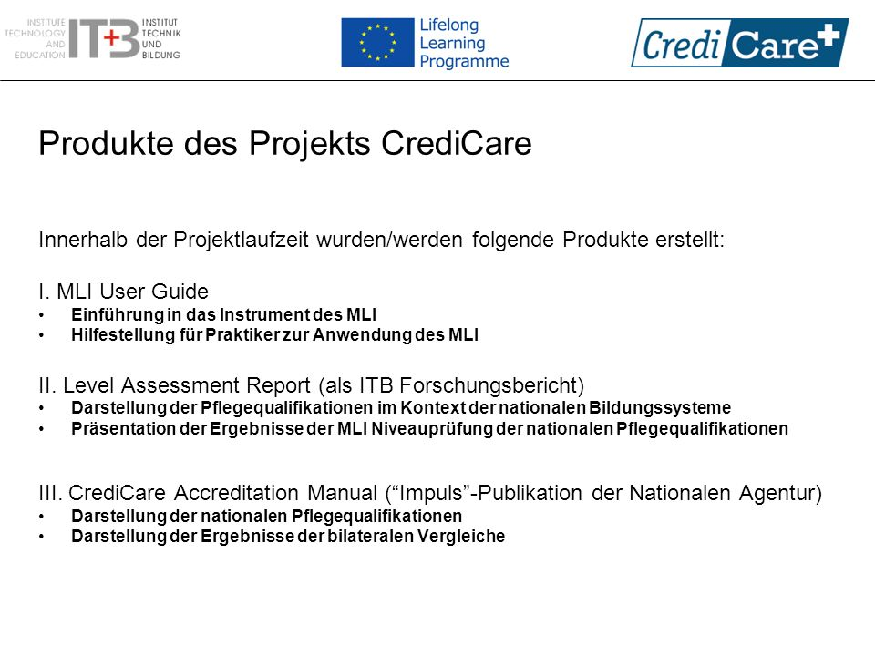 Produkte des Projekts CrediCare