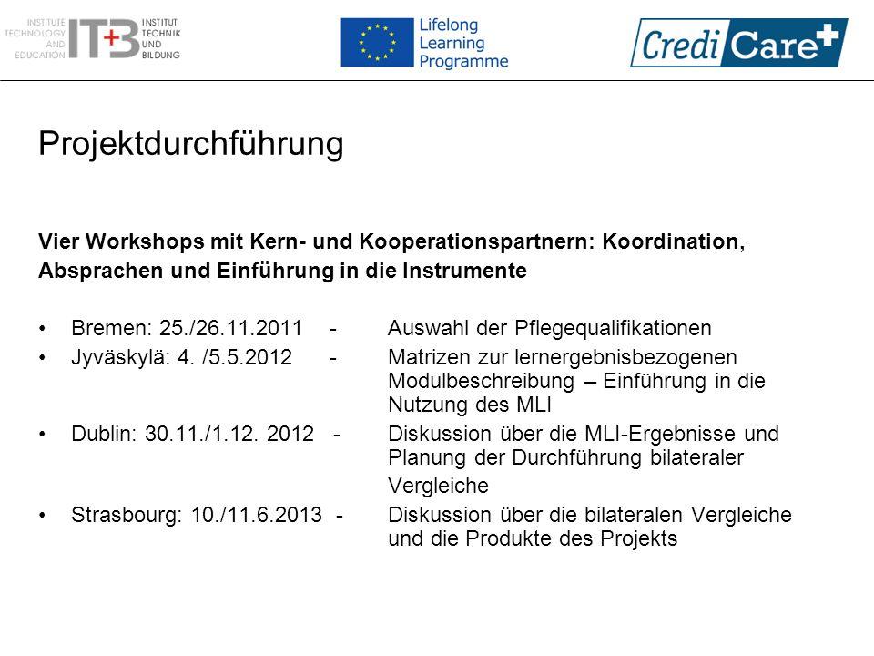 Projektdurchführung Vier Workshops mit Kern- und Kooperationspartnern: Koordination, Absprachen und Einführung in die Instrumente.