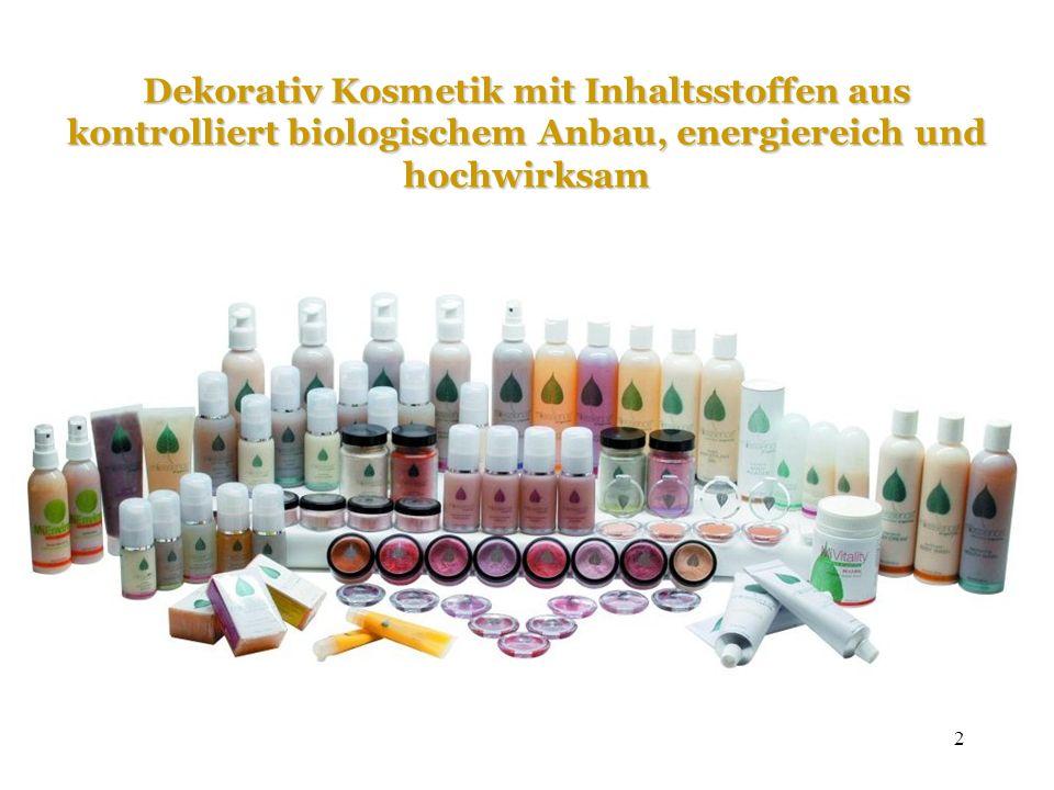 Dekorativ Kosmetik mit Inhaltsstoffen aus kontrolliert biologischem Anbau, energiereich und hochwirksam