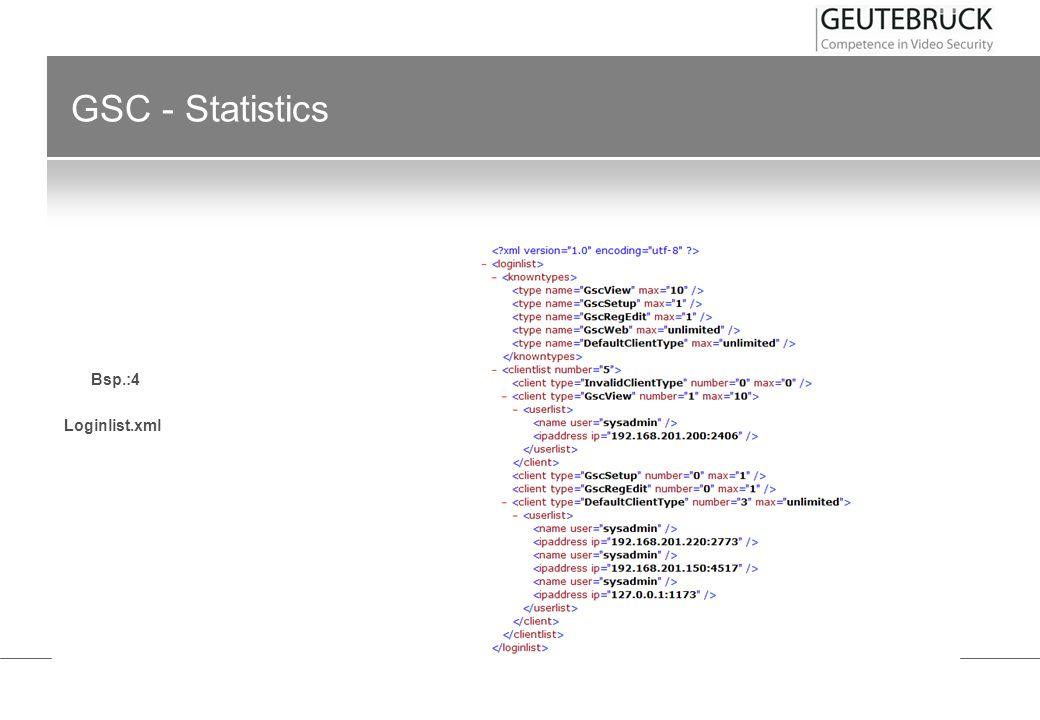 GSC - Statistics Bsp.:4 Loginlist.xml