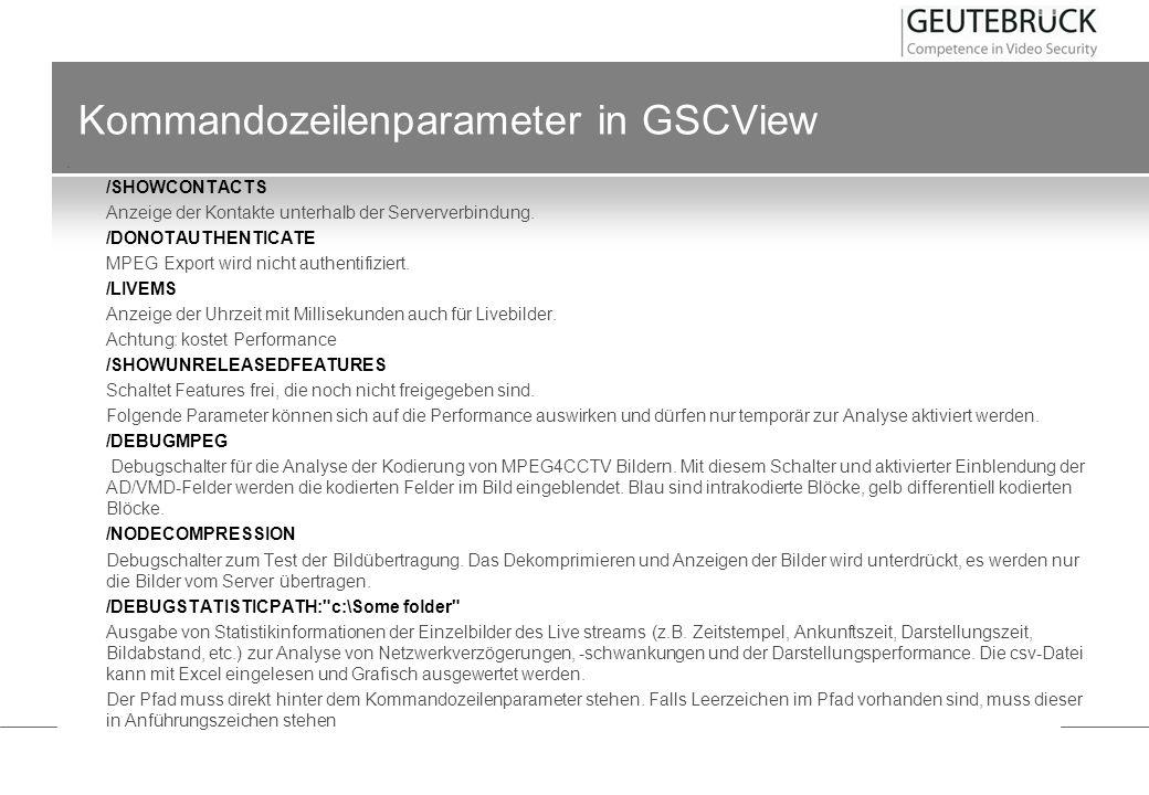 Kommandozeilenparameter in GSCView