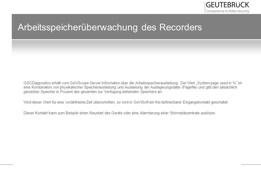 Arbeitsspeicherüberwachung des Recorders