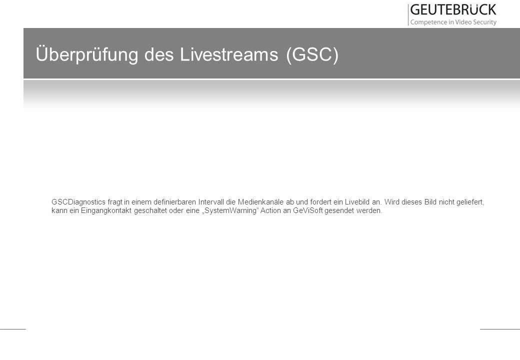 Überprüfung des Livestreams (GSC)