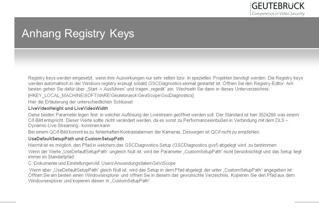 Anhang Registry Keys