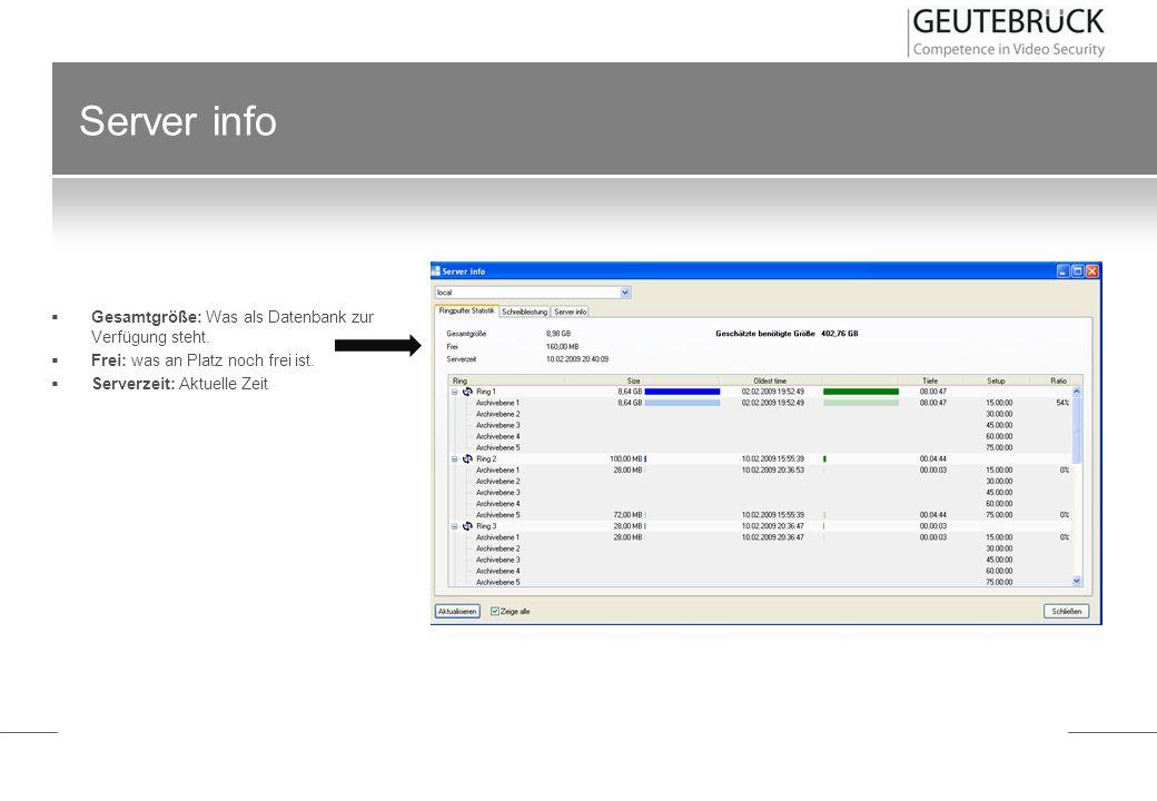 Server info Gesamtgröße: Was als Datenbank zur Verfügung steht.
