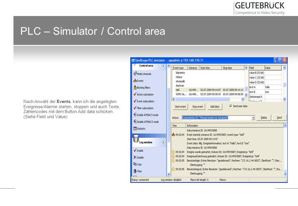 PLC – Simulator / Control area