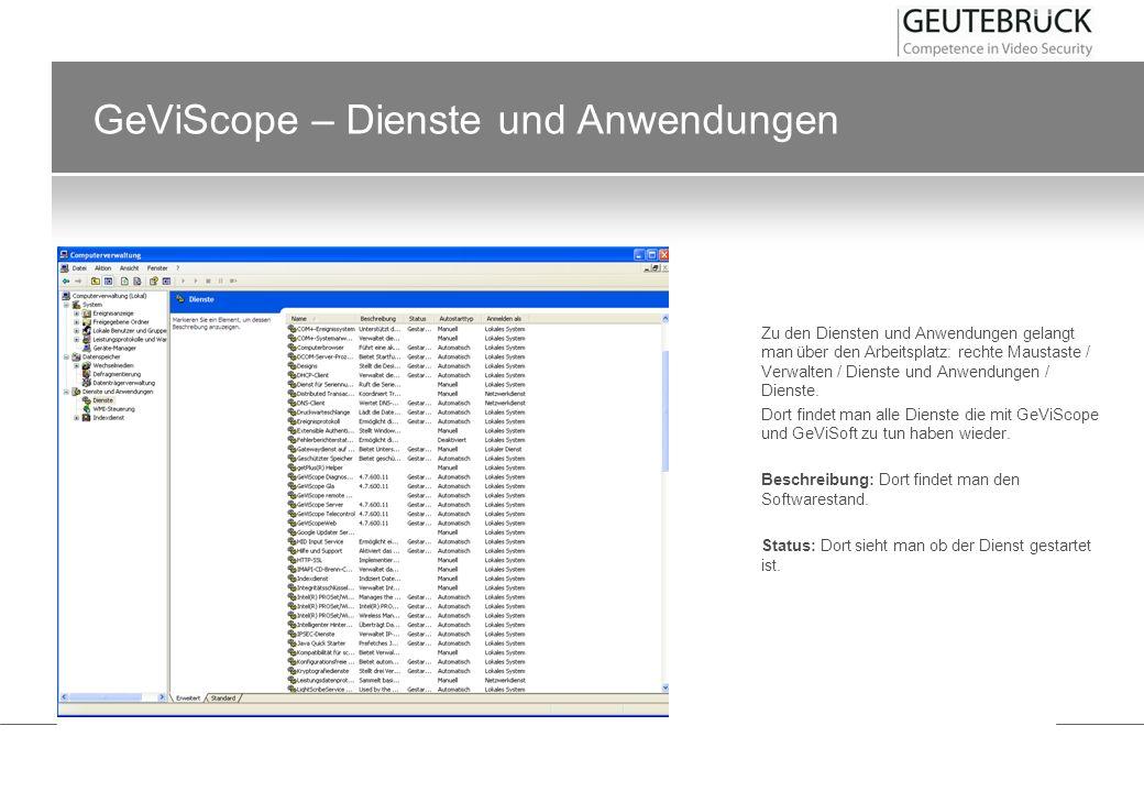 GeViScope – Dienste und Anwendungen
