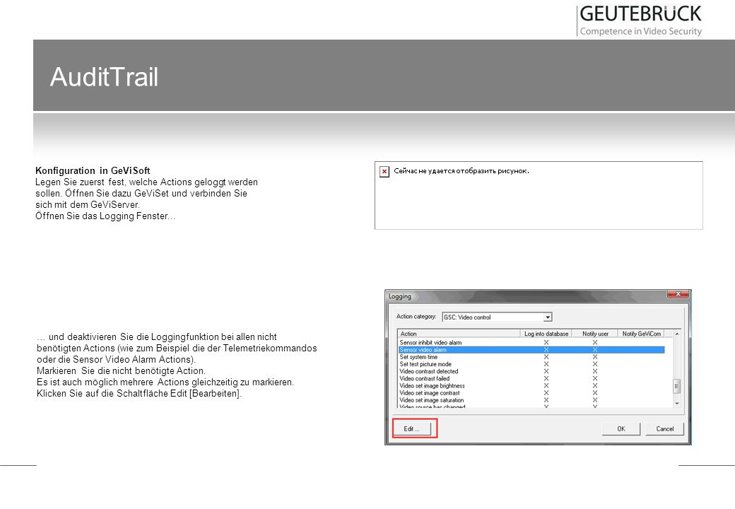 AuditTrail Konfiguration in GeViSoft