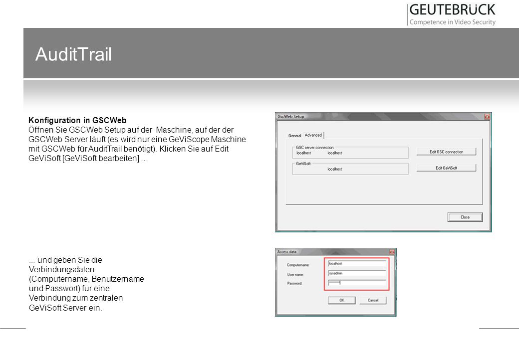 AuditTrail Konfiguration in GSCWeb