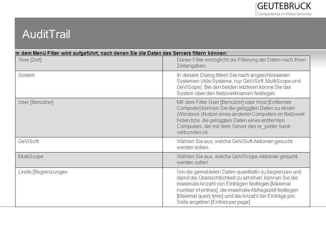AuditTrail In dem Menü Filter wird aufgeführt, nach denen Sie die Daten des Servers filtern können: