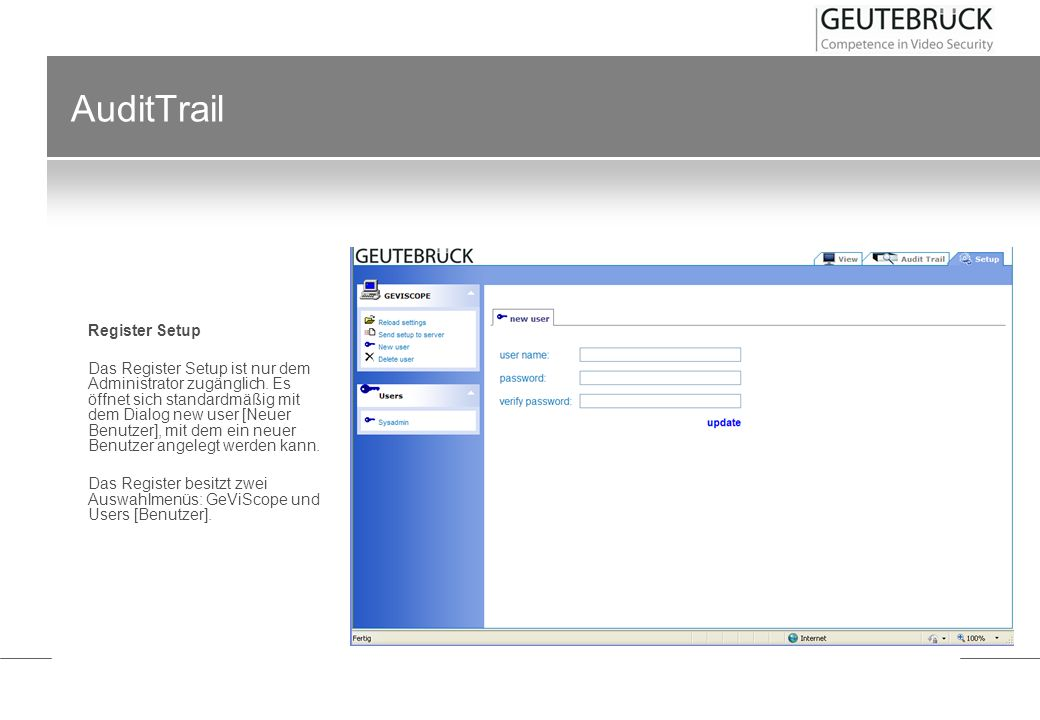 AuditTrail Register Setup