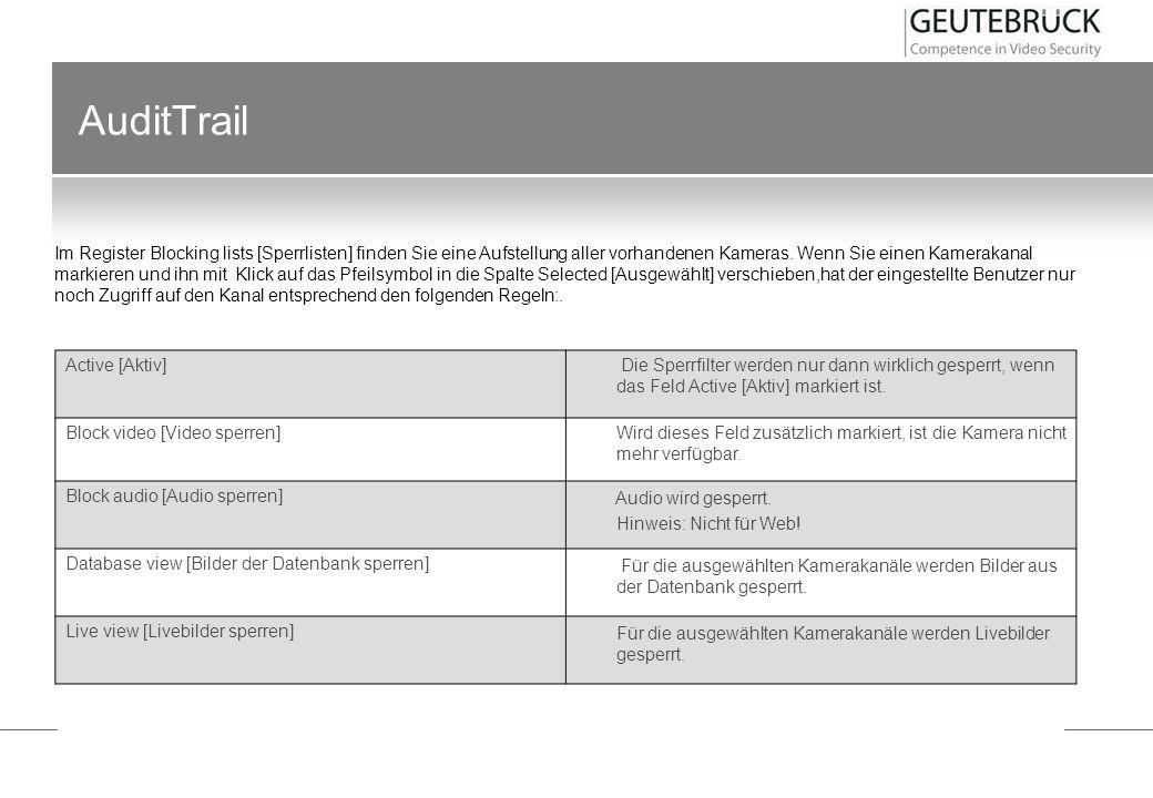 AuditTrail Im Menü Audit Trail finden sich sieben Einträge: