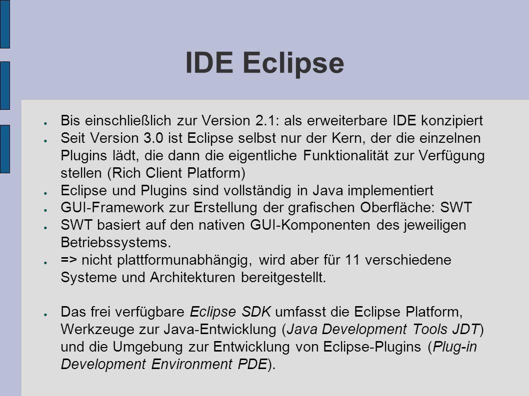 IDE Eclipse Bis einschließlich zur Version 2.1: als erweiterbare IDE konzipiert.