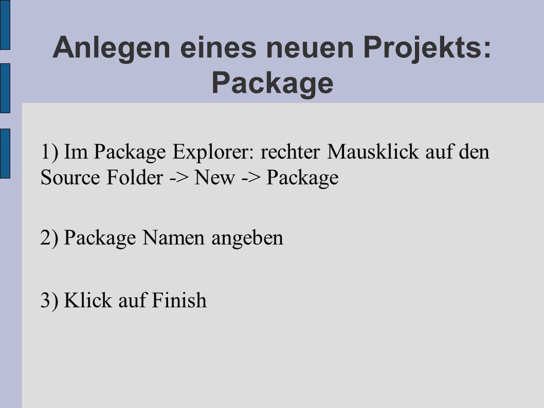 Anlegen eines neuen Projekts: Package