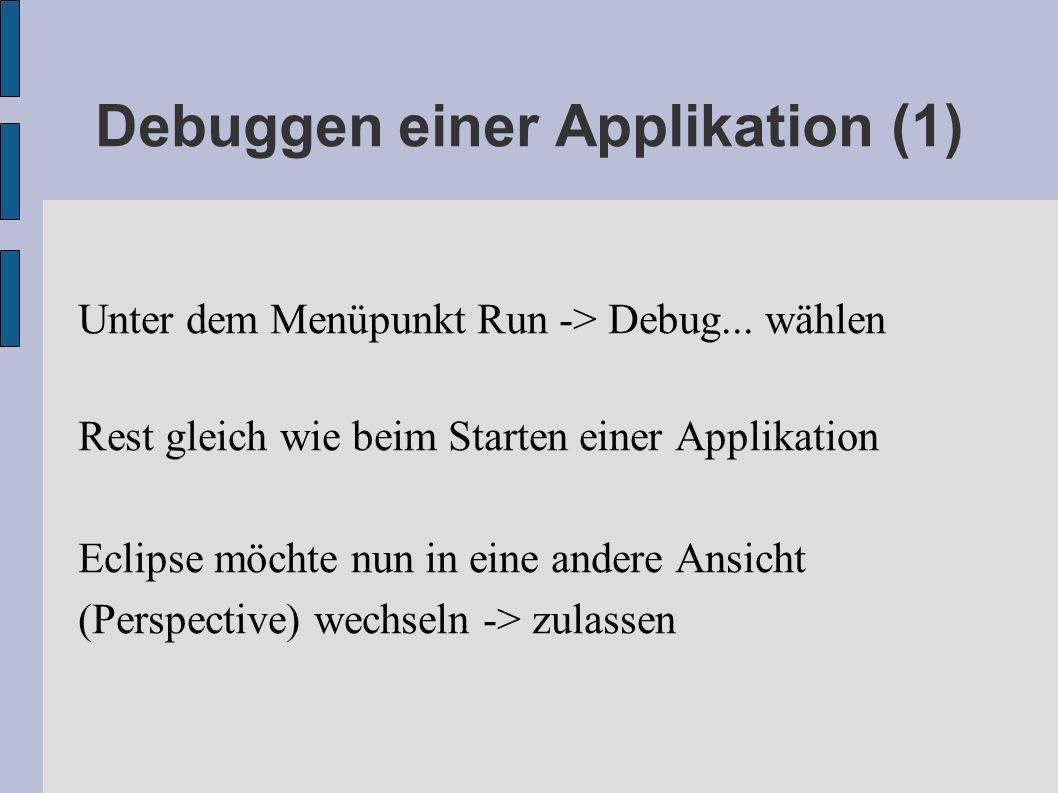 Debuggen einer Applikation (1)