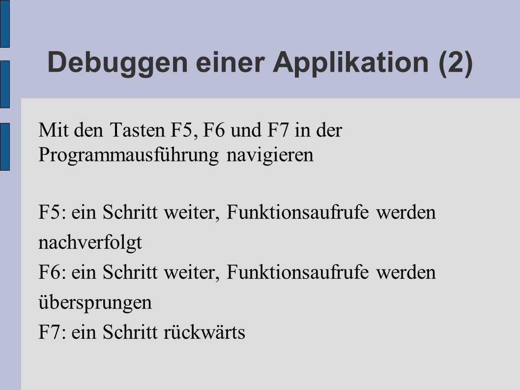 Debuggen einer Applikation (2)
