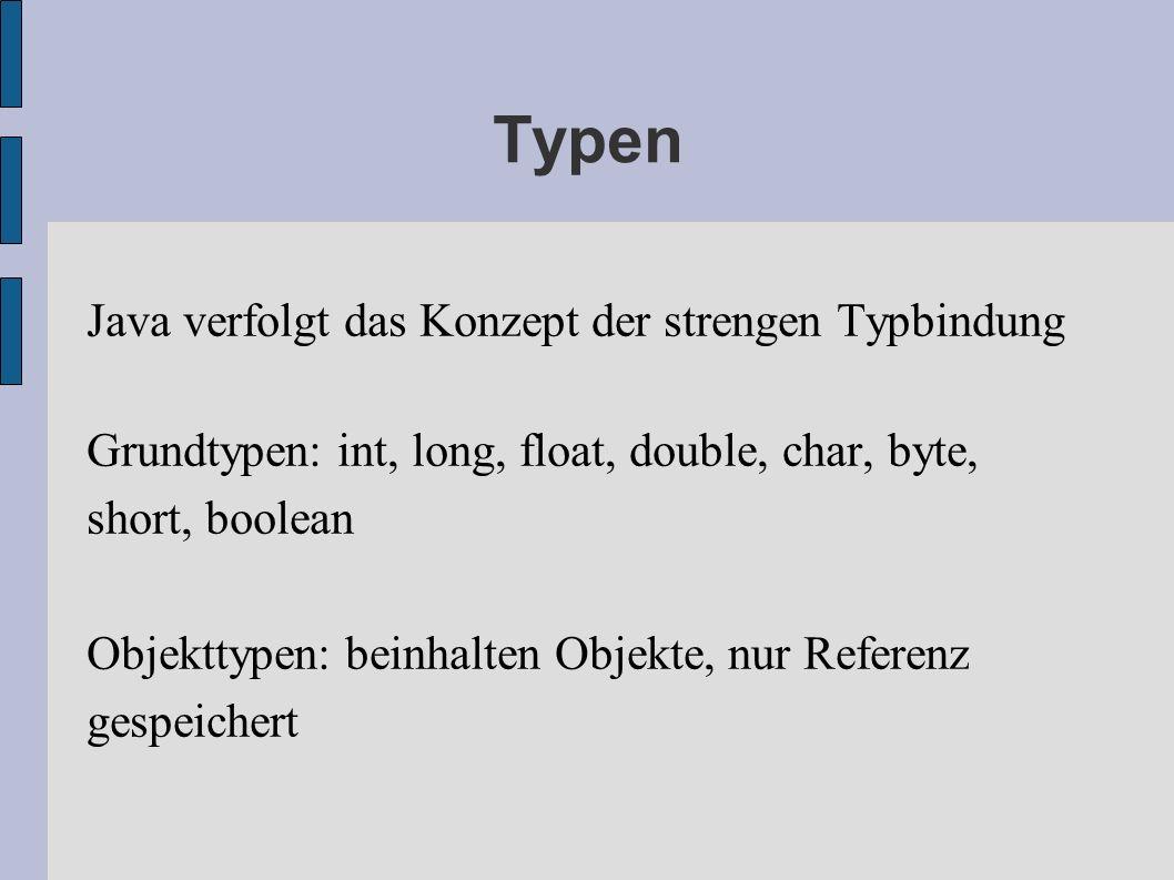 Typen Java verfolgt das Konzept der strengen Typbindung