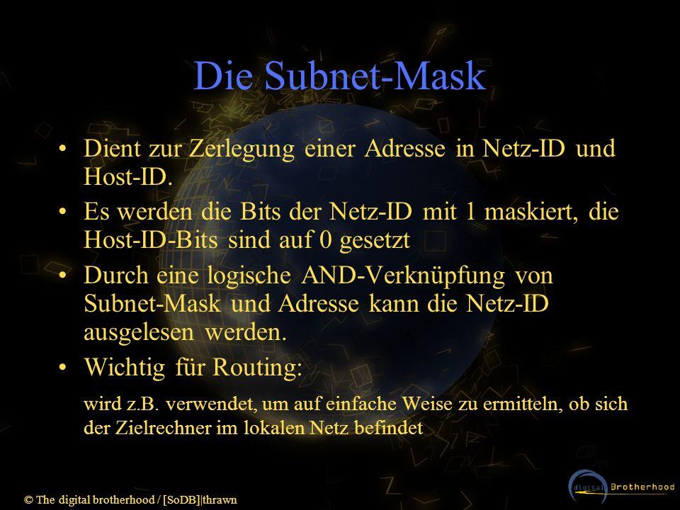 Die Subnet-MaskDient zur Zerlegung einer Adresse in Netz-ID und Host-ID.