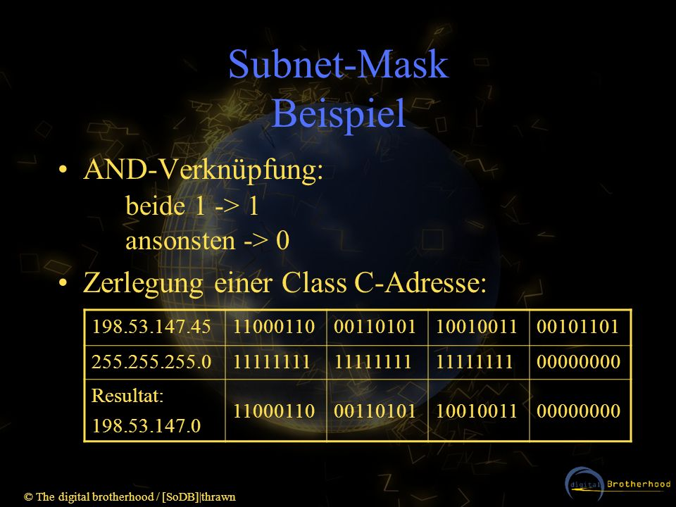 Subnet-Mask BeispielAND-Verknüpfung: beide 1 -> 1 ansonsten -> 0. Zerlegung einer Class C-Adresse: