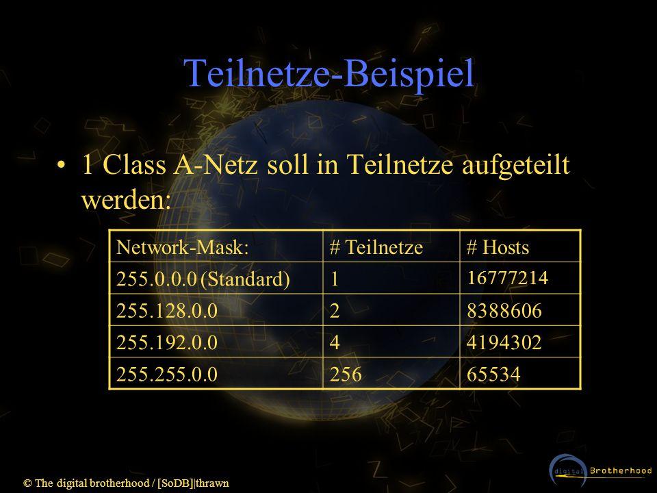 Teilnetze-Beispiel 1 Class A-Netz soll in Teilnetze aufgeteilt werden: