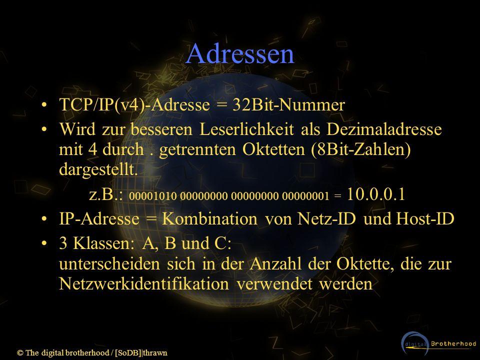Adressen TCP/IP(v4)-Adresse = 32Bit-Nummer