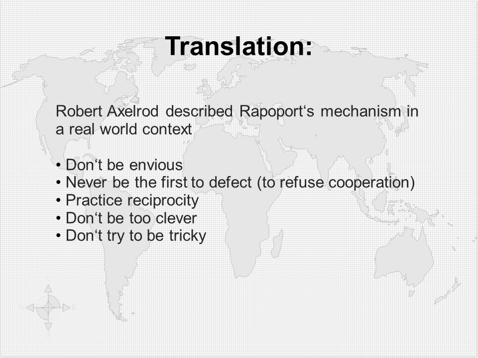 1212 Translation: Robert Axelrod described Rapoport's mechanism in a real world context. Don't be envious.