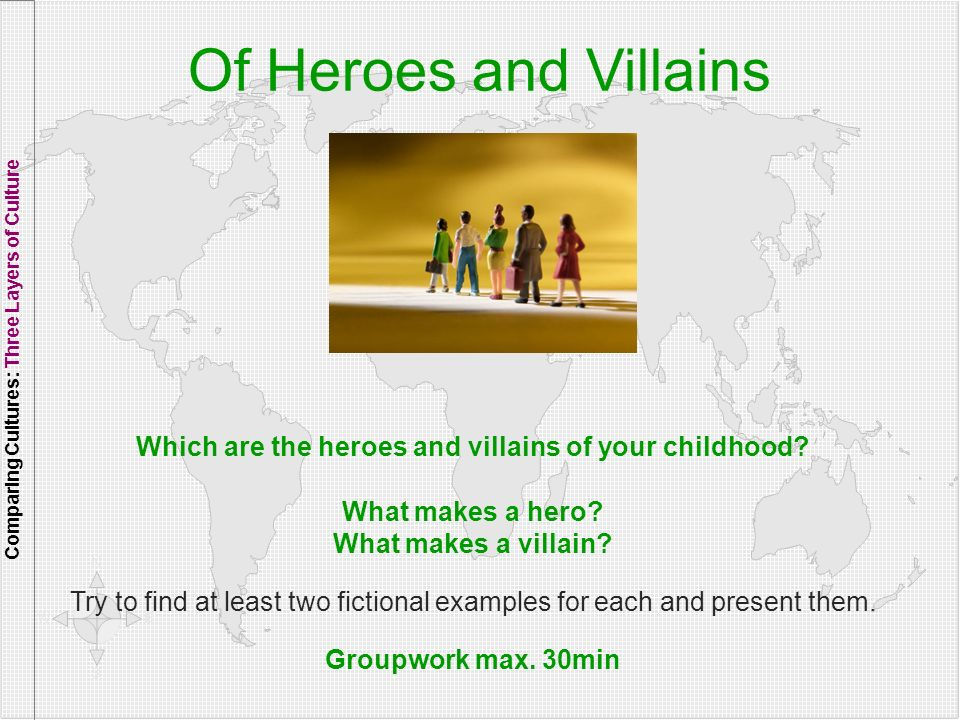 4141 Of Heroes and Villains. Comparing Cultures: Three Layers of Culture. Which are the heroes and villains of your childhood