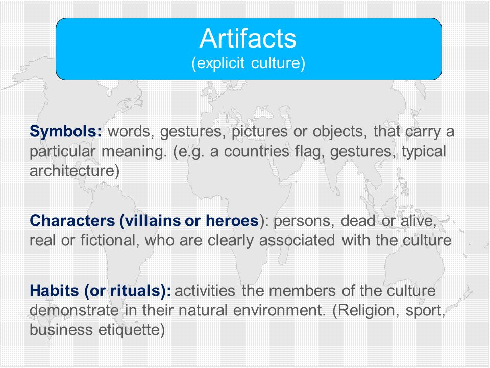 Artifacts (explicit culture)